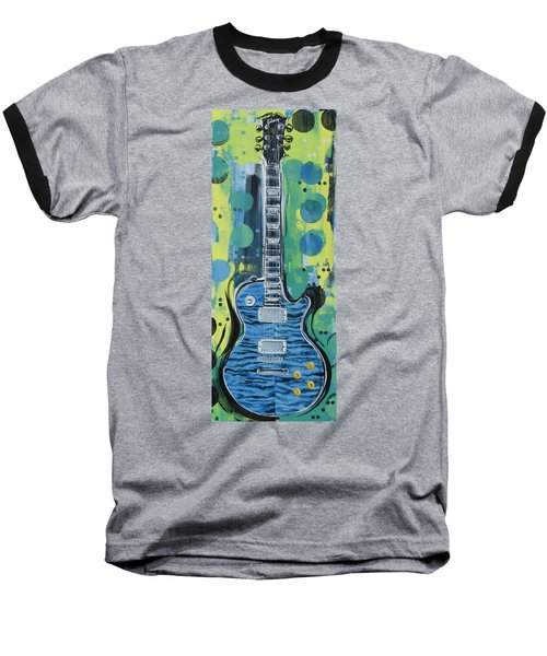Blue Gibson Guitar Baseball T-Shirt