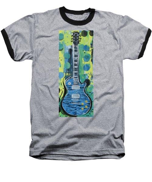 Blue Gibson Guitar Baseball T-Shirt