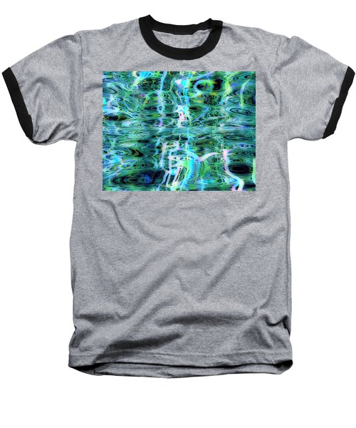 Blue Green Abstract 091015 Baseball T-Shirt by Matt Lindley