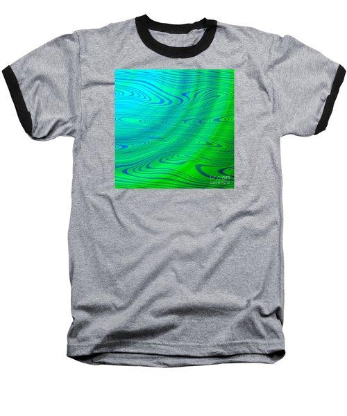 Blue Green Distort Abstract Baseball T-Shirt