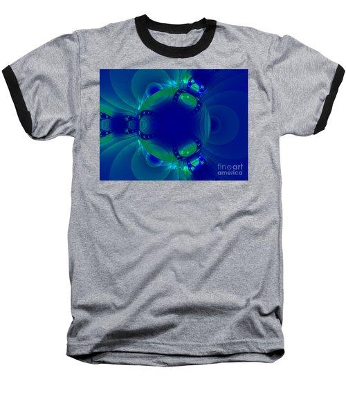 Blue Green Globe Luminant Fractal Baseball T-Shirt