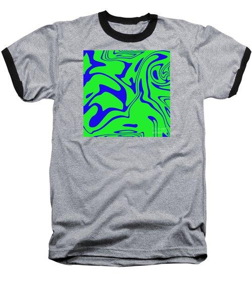 Blue Green Retro Abstract Baseball T-Shirt