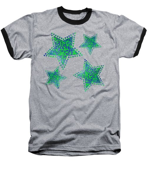 Blue Green Splatter Baseball T-Shirt