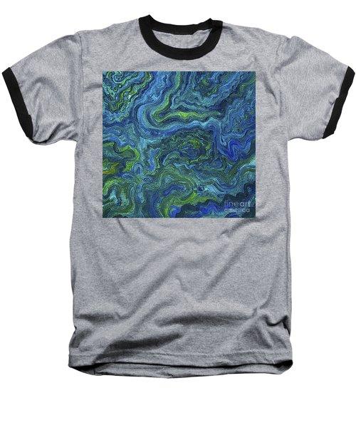 Blue Green Texture Baseball T-Shirt