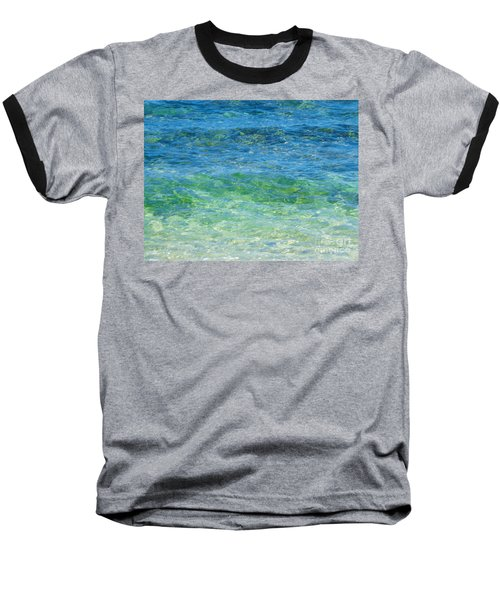 Blue Green Waves Baseball T-Shirt
