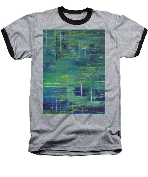 Blue Green Yellow Abstract  Baseball T-Shirt by Patricia Cleasby