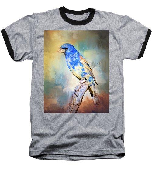 Blue Grosbeak Baseball T-Shirt by Barbara Manis