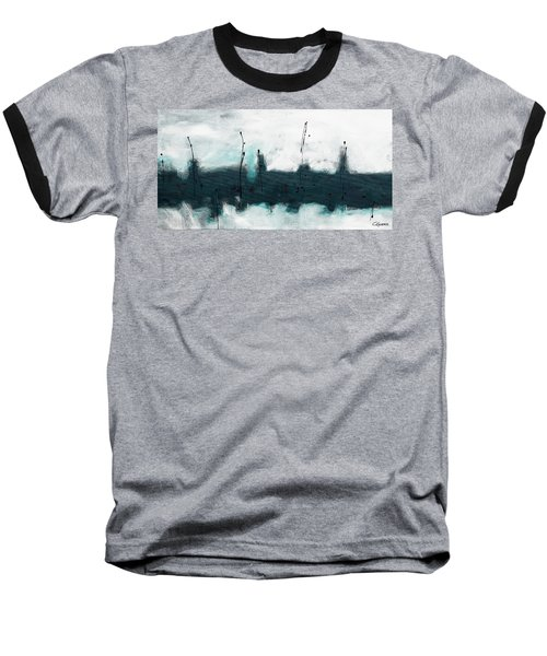 Baseball T-Shirt featuring the painting Blue Harbour by Carmen Guedez