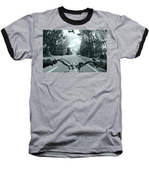 Blue Harley Baseball T-Shirt by Micah May
