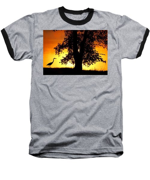 Blue Heron At Sunrise Baseball T-Shirt by Sumoflam Photography