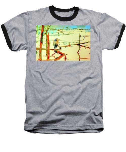 Blue Heron Baseball T-Shirt by Dale Stillman