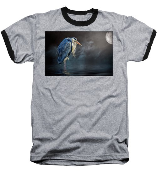 Blue Heron Moon Baseball T-Shirt by Brian Tarr