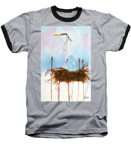 Blue Heron Nesting Baseball T-Shirt