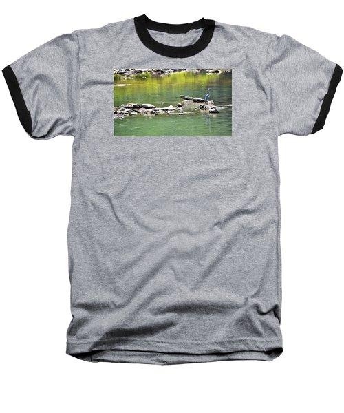Blue Heron On The Chattahoochie Baseball T-Shirt by James Potts