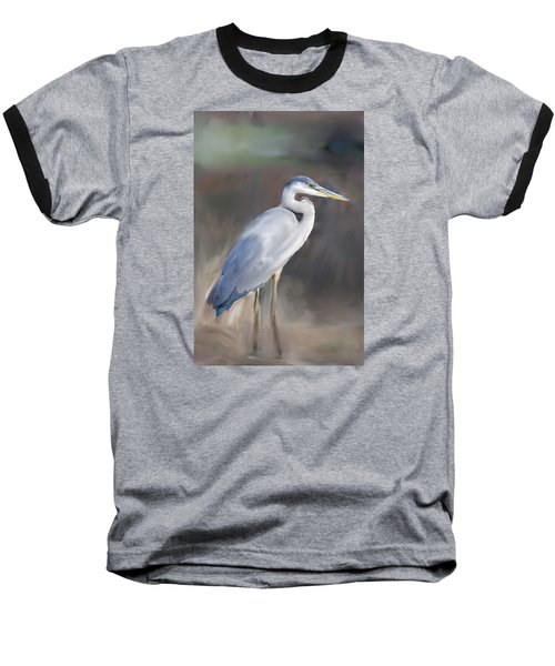Blue Heron Painting  Baseball T-Shirt by Don  Wright