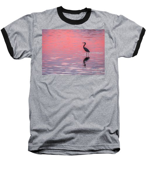 Blue Heron - Pink Water Baseball T-Shirt by Tom Claud