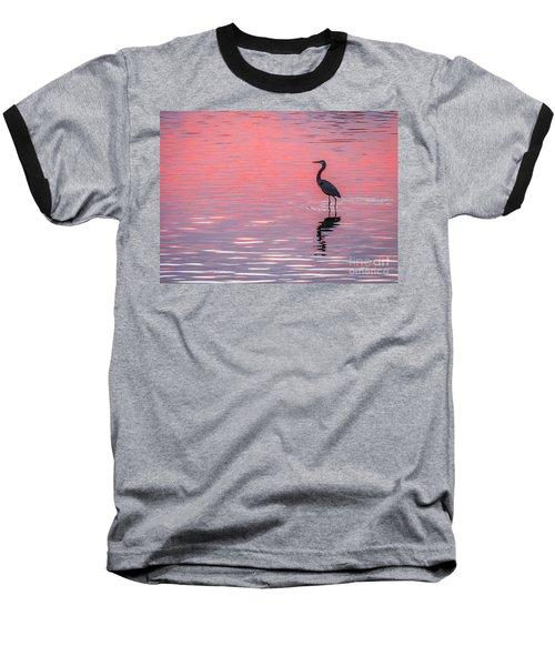 Blue Heron - Pink Water Baseball T-Shirt
