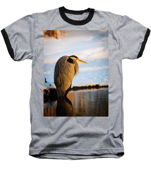 Blue Heron Resting Baseball T-Shirt