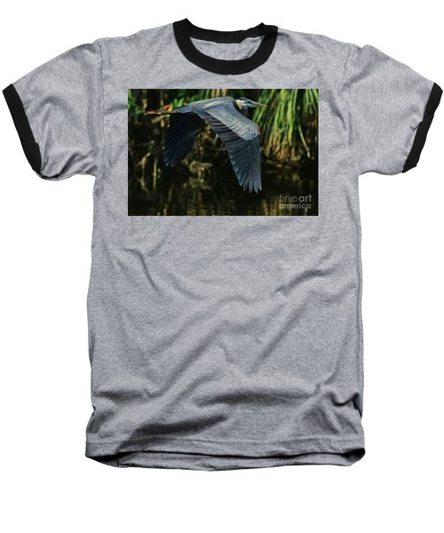 Baseball T-Shirt featuring the photograph Blue Heron Series The Pond by Deborah Benoit