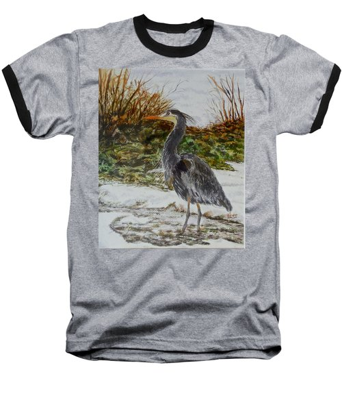 Baseball T-Shirt featuring the painting Blue Heron by Sher Nasser