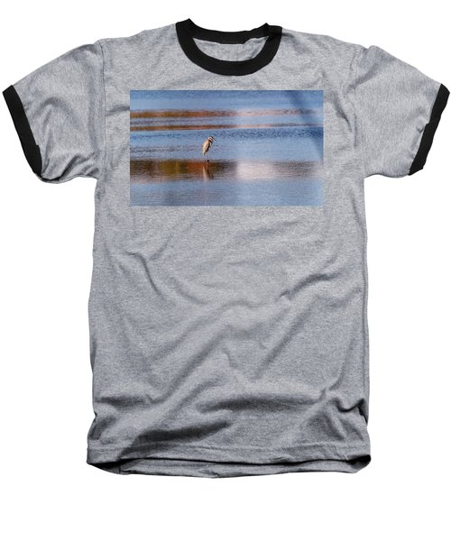 Blue Heron Standing In A Pond At Sunset Baseball T-Shirt