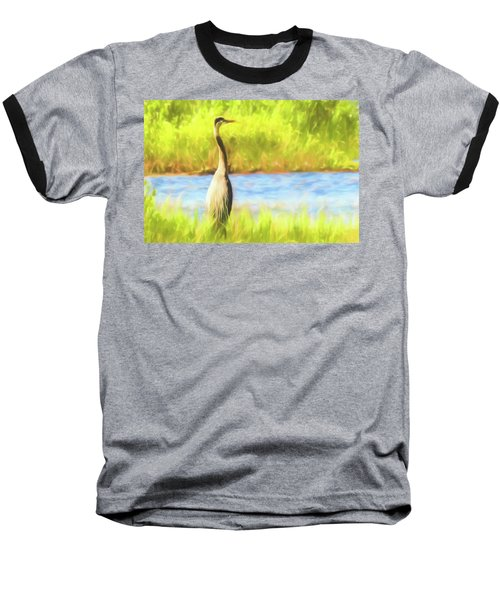 Blue Heron Standing Tall And Alert Baseball T-Shirt