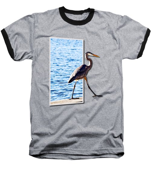 Blue Heron Strutting Out Of Frame Baseball T-Shirt