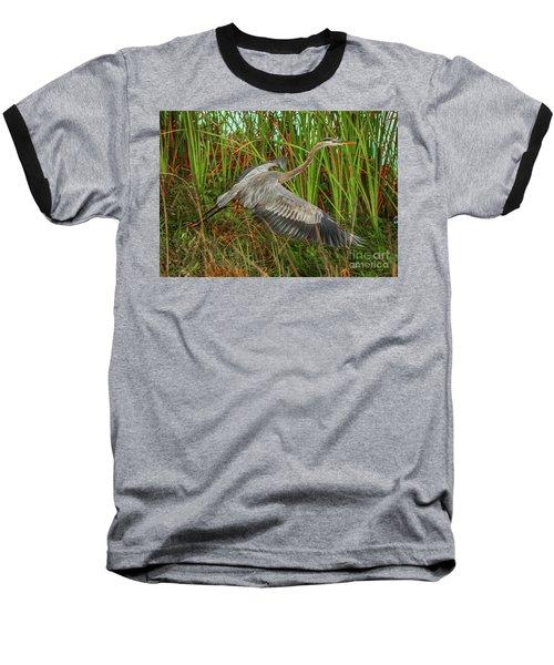 Blue Heron Take-off Baseball T-Shirt