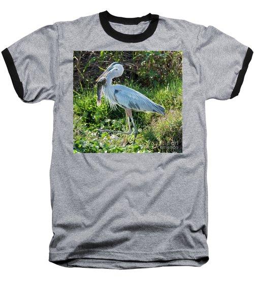 Blue Heron With Fish Baseball T-Shirt
