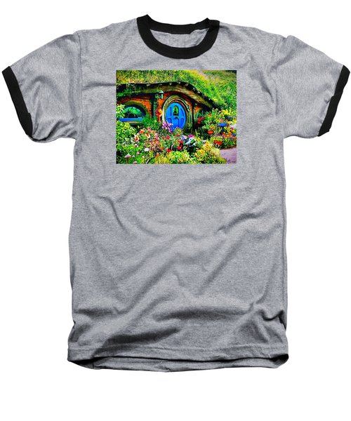 Blue Hobbit Door Baseball T-Shirt by Kathy Kelly