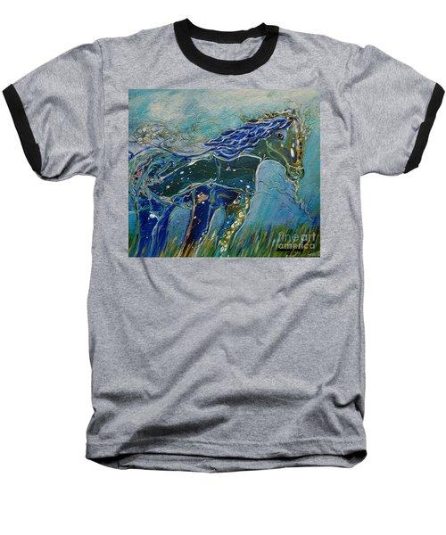 Blue Horse Baseball T-Shirt