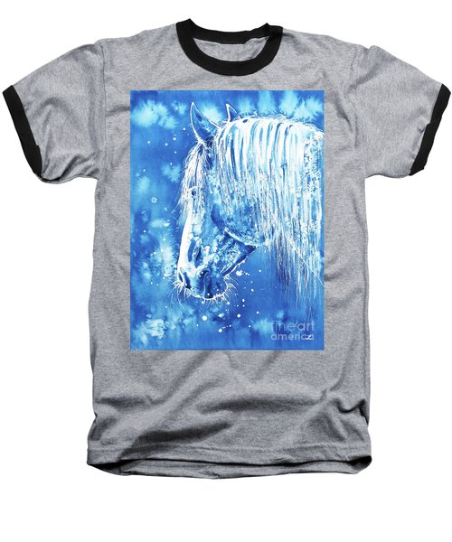 Baseball T-Shirt featuring the painting Blue Horse by Zaira Dzhaubaeva