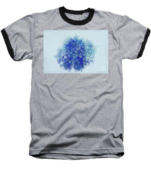 Blue Hortensia Baseball T-Shirt by Eva Lechner