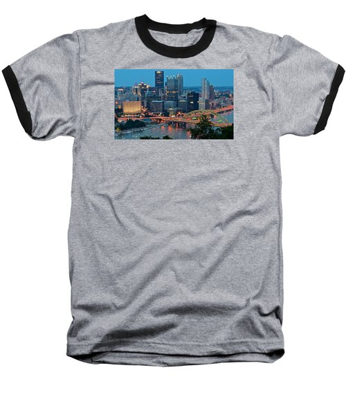 Blue Hour In Pittsburgh Baseball T-Shirt by Frozen in Time Fine Art Photography