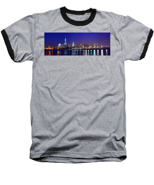 Blue Hour Panorama New York World Trade Center With Freedom Tower From Liberty State Park Baseball T-Shirt