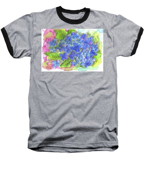 Baseball T-Shirt featuring the painting Blue Hydrangea by Cathie Richardson