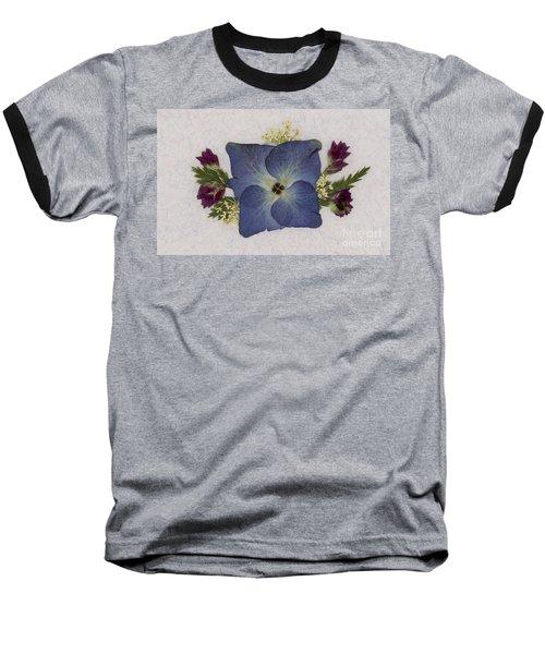 Blue Hydrangea Pressed Floral Design Baseball T-Shirt