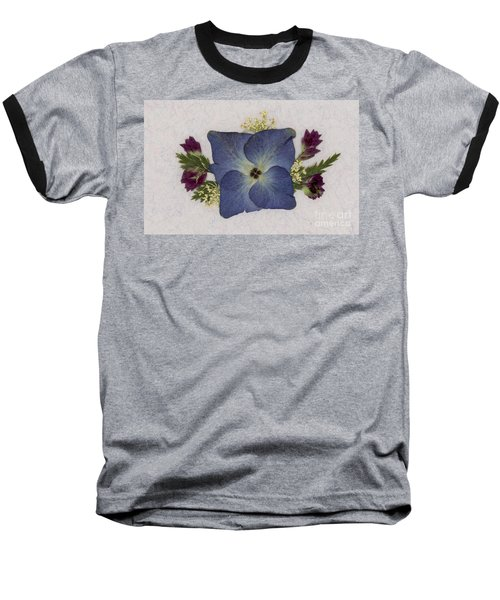 Blue Hydrangea Pressed Floral Design Baseball T-Shirt