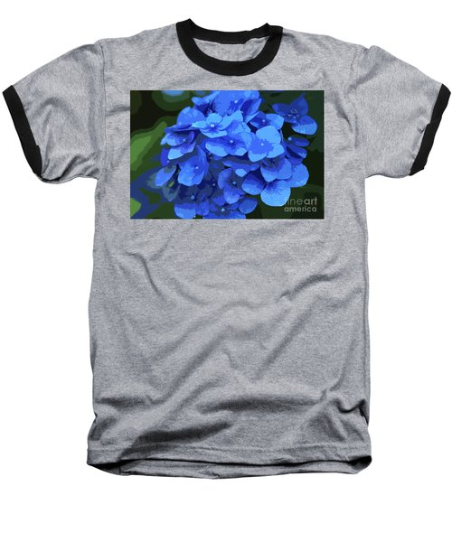 Blue Hydrangea Stylized Baseball T-Shirt