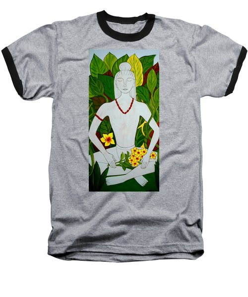 Baseball T-Shirt featuring the painting Blue Idol by Stephanie Moore