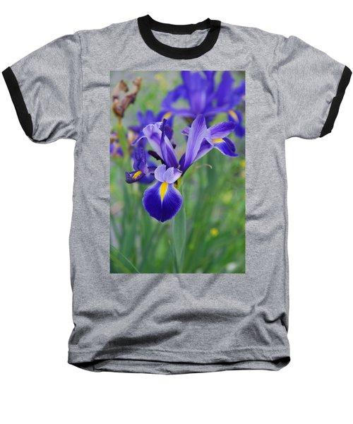 Blue Iris Flower Baseball T-Shirt