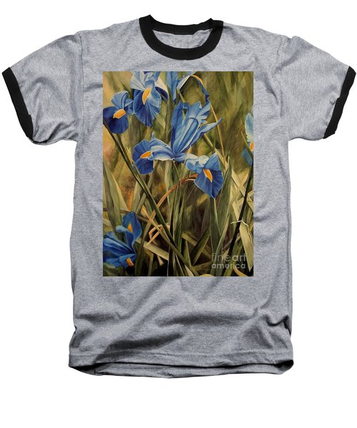 Blue Iris Baseball T-Shirt by Laurie Rohner