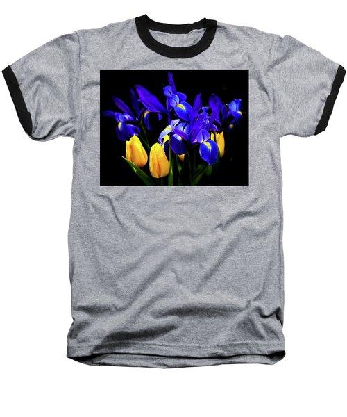 Blue Iris Waltz By Karen Wiles Baseball T-Shirt by Karen Wiles