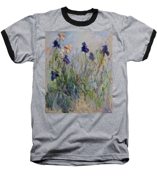 Blue Irises In The Field, Painted In The Open Air  Baseball T-Shirt by Pierre Van Dijk
