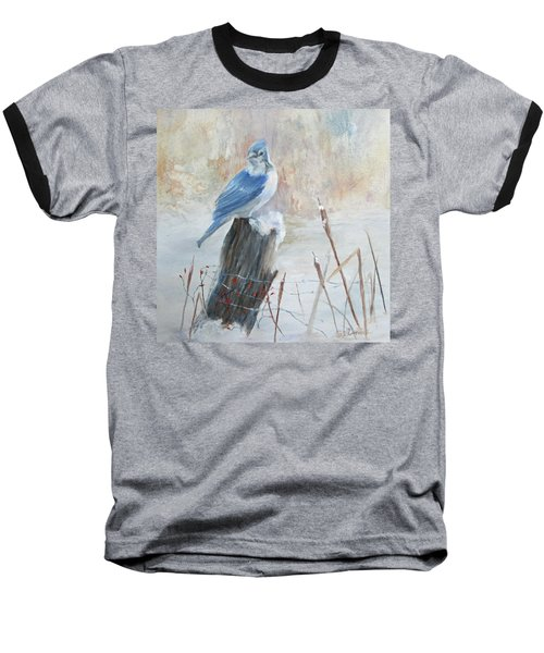 Baseball T-Shirt featuring the painting Blue Jay In Winter by Roseann Gilmore