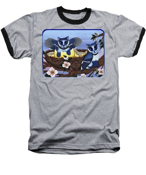 Baseball T-Shirt featuring the painting Blue Jay Kittens by Carrie Hawks