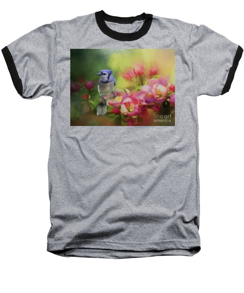 Blue Jay On A Blooming Tree Baseball T-Shirt by Eva Lechner