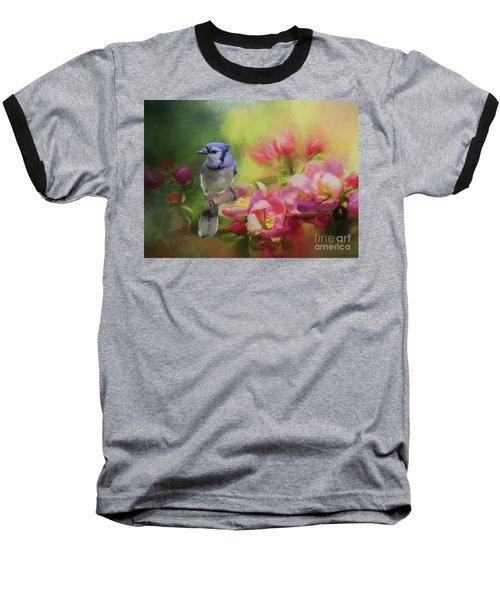 Blue Jay On A Blooming Tree Baseball T-Shirt