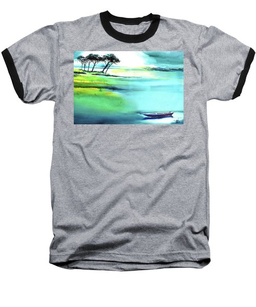 Baseball T-Shirt featuring the painting Blue Lagoon by Anil Nene