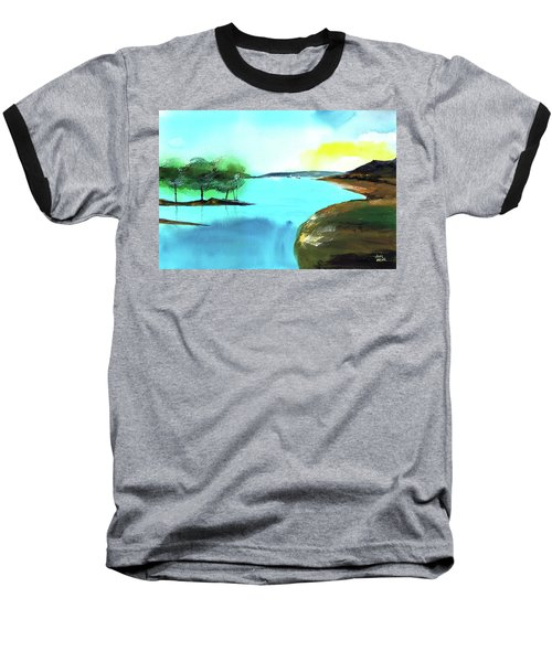 Baseball T-Shirt featuring the painting Blue Lake by Anil Nene